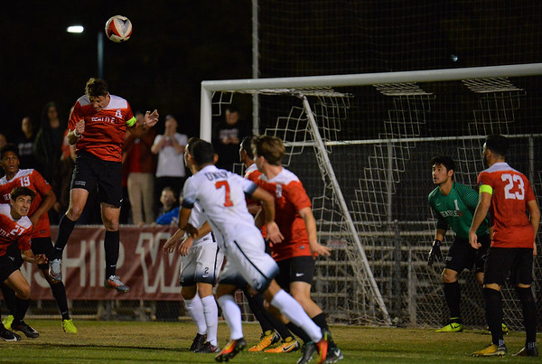 LAS VEGAS, NV - NOVEMBER 10:  Semifinal match of the 2017 WAC Men's Soccer Tournament between the 2-seed UNLV Rebels and the 3-seed Seattle Redhawks at Peter Johann Memorial Field on November 10, 2017 in Las Vegas, Nevada.  (Photo by Sam Wasson/WAC)