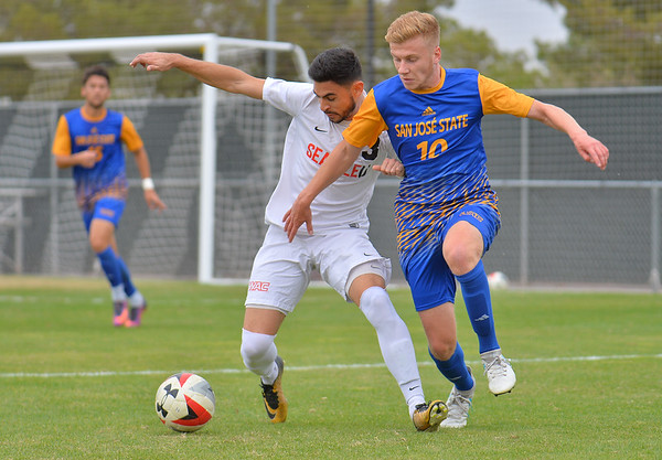 LAS VEGAS, NV - NOVEMBER 12:  Championship match of the 2017 WAC Men's Soccer Tournament between the 3-seed Seattle Redhawks and the 4-seed San Jose State Spartans at Peter Johann Memorial Field on November 12, 2017 in Las Vegas, Nevada.  (Photo by Sam Wasson/WAC)