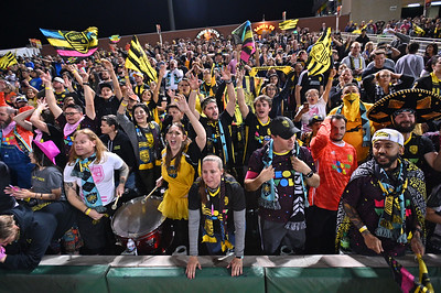 ALBUQUERQUE, NEW MEXICO - OCTOBER 16, 2019:  New Mexico United supporters The Curse New Mexico cheer in the second half during the team's match against Seattle Sounders II at Isotopes Stadium on October 16, 2019 in Albuquerque, New Mexico. The Sounders and United tied 1-1.  (Photo by Sam Wasson)
