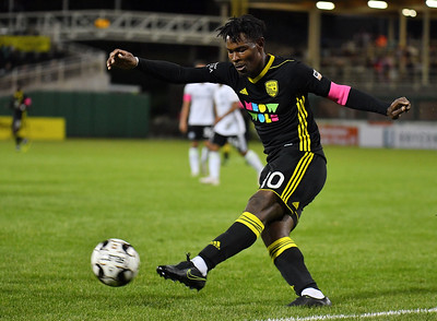 ALBUQUERQUE, NEW MEXICO - OCTOBER 16, 2019:  Kevaughn Frater #10 of New Mexico United passes against Tacoma Defiance during the second half of their match at Isotopes Stadium on October 16, 2019 in Albuquerque, New Mexico. The Sounders and United tied 1-1.  (Photo by Sam Wasson)