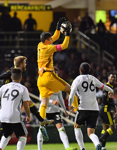 ALBUQUERQUE, NEW MEXICO - OCTOBER 16, 2019:  Trey Muse #1 of Tacoma Defiance goes up in the air to make a save on a corner kick during the second of their match against New Mexico United at Isotopes Stadium on October 16, 2019 in Albuquerque, New Mexico. The Sounders and United tied 1-1.  (Photo by Sam Wasson)