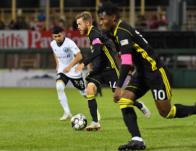 ALBUQUERQUE, NEW MEXICO - OCTOBER 16, 2019:  Christopher Wehan #14 of New Mexico United dribbles against Tacoma Defiance during the second half of their match at Isotopes Stadium on October 16, 2019 in Albuquerque, New Mexico. The Sounders and United tied 1-1.  (Photo by Sam Wasson)