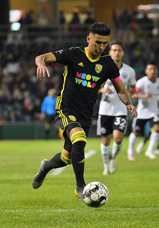 ALBUQUERQUE, NEW MEXICO - OCTOBER 16, 2019:  Manny Padilla #24 of New Mexico United dribbles against Tacoma Defiance during the first half of their match at Isotopes Stadium on October 16, 2019 in Albuquerque, New Mexico. The Sounders and United tied 1-1.  (Photo by Sam Wasson)
