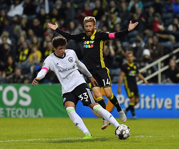 ALBUQUERQUE, NEW MEXICO - OCTOBER 16, 2019:  Samuel Rogers #33 of Tacoma Defiance controls the ball against Christopher Wehan #14 of New Mexico United during their the first half of their match at Isotopes Stadium on October 16, 2019 in Albuquerque, New Mexico. The Sounders and United tied 1-1.  (Photo by Sam Wasson)