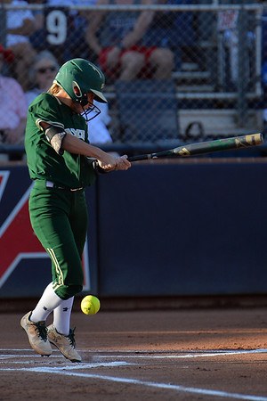 TUCSON, AZ - MAY 26:  Kyla Walker #2 of the Baylor Bears gets a hit during game one of the NCAA Div. I Super Regional against the Arizona Wildcats on May 26, 2017 at Hillenbrand Stadium in Tucson, Arizona. Arizona won 3-2.  (Photo by: Sam Wasson)
