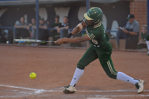 TUCSON, AZ - MAY 26:  Jessica Scroggins #15 of the Baylor Bears swings at a pitch during game one of the NCAA Div. I Super Regional against the Arizona Wildcats on May 26, 2017 at Hillenbrand Stadium in Tucson, Arizona. Arizona won 3-2.  (Photo by: Sam Wasson)