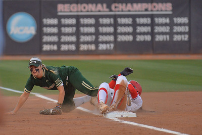 TUCSON, AZ - MAY 26:  Caitlin Charlton #5 of the Baylor Bears collides with the base runner during game one of the NCAA Div. I Super Regional against the Arizona Wildcats on May 26, 2017 at Hillenbrand Stadium in Tucson, Arizona. Arizona won 3-2.  (Photo by: Sam Wasson)