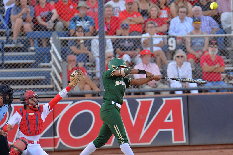TUCSON, AZ - MAY 26:  Jessica Scroggins #15 of the Baylor Bears hits a pop up during game one of the NCAA Div. I Super Regional against the Arizona Wildcats on May 26, 2017 at Hillenbrand Stadium in Tucson, Arizona. Arizona won 3-2.  (Photo by: Sam Wasson)