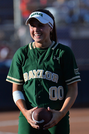 TUCSON, AZ - MAY 26:  Lindsey Cargill #00 of the Baylor Bears catches a football before game one of the NCAA Div. I Super Regional against the Arizona Wildcats on May 26, 2017 at Hillenbrand Stadium in Tucson, Arizona. Arizona won 3-2.  (Photo by: Sam Wasson)