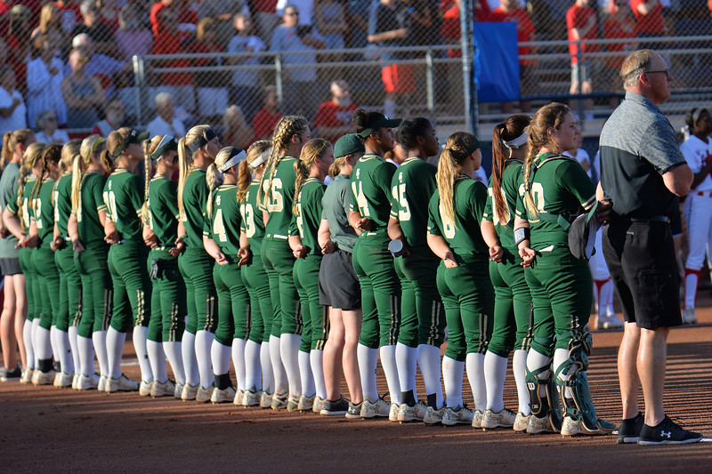 TUCSON, AZ - MAY 26:  The Baylor Bears stand for the American national anthem before game one of the NCAA Div. I Super Regional against the Arizona Wildcats on May 26, 2017 at Hillenbrand Stadium in Tucson, Arizona. Arizona won 3-2.  (Photo by: Sam Wasson)