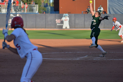 TUCSON, AZ - MAY 26:  Kelsee Selman #16 of the Baylor Bears throws a pitch during game one of the NCAA Div. I Super Regional against the Arizona Wildcats on May 26, 2017 at Hillenbrand Stadium in Tucson, Arizona. Arizona won 3-2.  (Photo by: Sam Wasson)