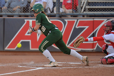 TUCSON, AZ - MAY 26:  Lindsey Cargill #00 of the Baylor Bears bunts during game one of the NCAA Div. I Super Regional against the Arizona Wildcats on May 26, 2017 at Hillenbrand Stadium in Tucson, Arizona. Arizona won 3-2.  (Photo by: Sam Wasson)