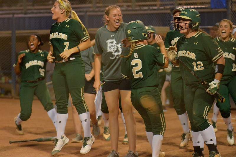 TUCSON, AZ - MAY 26:  Kyla Walker #2 of the Baylor Bears crosses home play during game one of the NCAA Div. I Super Regional against the Arizona Wildcats on May 26, 2017 at Hillenbrand Stadium in Tucson, Arizona. Arizona won 3-2.  (Photo by: Sam Wasson)