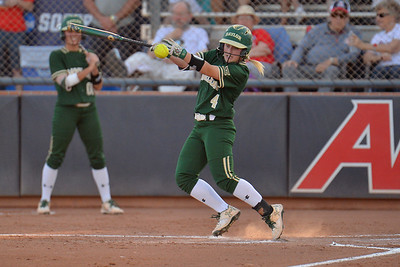TUCSON, AZ - MAY 26:  Maddison Kettler #4 of the Baylor Bears hits a pitch during game one of the NCAA Div. I Super Regional against the Arizona Wildcats on May 26, 2017 at Hillenbrand Stadium in Tucson, Arizona. Arizona won 3-2.  (Photo by: Sam Wasson)