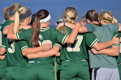 TUCSON, AZ - MAY 26:  The Baylor softball team huddles before game one of the NCAA Div. I Super Regional against the Arizona Wildcats on May 26, 2017 at Hillenbrand Stadium in Tucson, Arizona. Arizona won 3-2.  (Photo by: Sam Wasson)