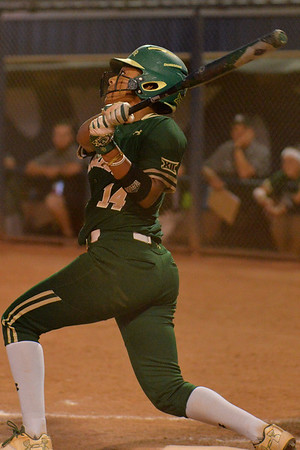 TUCSON, AZ - MAY 26:  Ari Hawkins #14 of the Baylor Bears watches the ball after hitting a home run during game one of the NCAA Div. I Super Regional against the Arizona Wildcats on May 26, 2017 at Hillenbrand Stadium in Tucson, Arizona. Arizona won 3-2.  (Photo by: Sam Wasson)