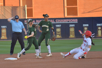 TUCSON, AZ - MAY 26:  Caitlin Charlton #5 of the Baylor Bears throws to first to complete a double play during game one of the NCAA Div. I Super Regional against the Arizona Wildcats on May 26, 2017 at Hillenbrand Stadium in Tucson, Arizona. Arizona won 3-2.  (Photo by: Sam Wasson)