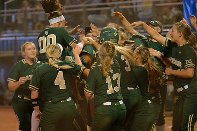 TUCSON, AZ - MAY 26:  The Baylor Bears dugout celebrates as Ari Hawkins #14 of the Baylor Bears crosses home plate during game one of the NCAA Div. I Super Regional against the Arizona Wildcats on May 26, 2017 at Hillenbrand Stadium in Tucson, Arizona. Arizona won 3-2.  (Photo by: Sam Wasson)