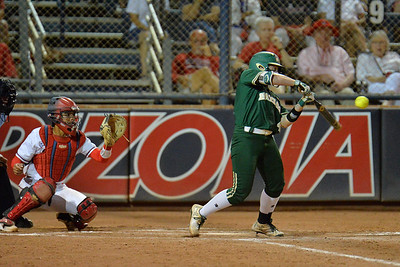 TUCSON, AZ - MAY 26:  Maddison Kettler #4 of the Baylor Bears swings at a pitch during game one of the NCAA Div. I Super Regional against the Arizona Wildcats on May 26, 2017 at Hillenbrand Stadium in Tucson, Arizona. Arizona won 3-2.  (Photo by: Sam Wasson)