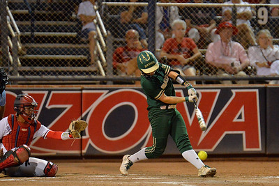 TUCSON, AZ - MAY 26:  Caitlin Charlton #5 of the Baylor Bears swings at a pitch during game one of the NCAA Div. I Super Regional against the Arizona Wildcats on May 26, 2017 at Hillenbrand Stadium in Tucson, Arizona. Arizona won 3-2.  (Photo by: Sam Wasson)