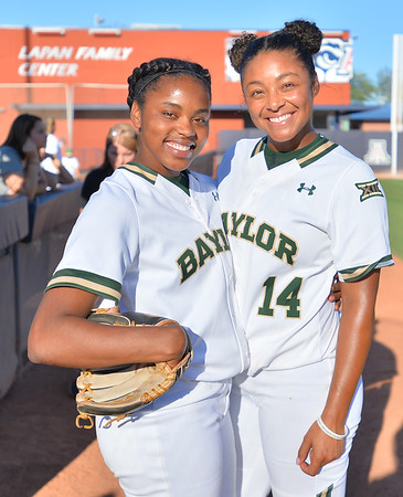 TUCSON, AZ - MAY 27:  Jessica Scroggins #15 of the Baylor Bears (L) and Ari Hawkins #14 pose for a photo before game two of the NCAA Div. I Super Regional against the Arizona Wildcats on May 26, 2017 at Hillenbrand Stadium in Tucson, Arizona.  Baylor won 6-4.  (Photo by Sam Wasson)
