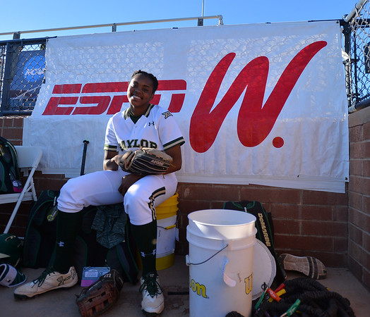 TUCSON, AZ - MAY 27:  Jessica Scroggins #15 of the Baylor Bears poses for a photo before game two of the NCAA Div. I Super Regional against the Arizona Wildcats on May 26, 2017 at Hillenbrand Stadium in Tucson, Arizona.  Baylor won 6-4.  (Photo by Sam Wasson)