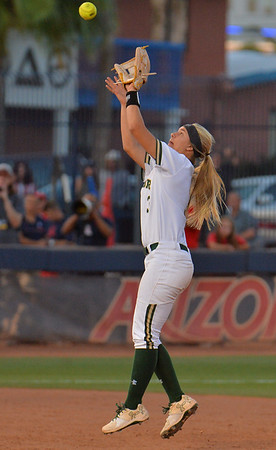 TUCSON, AZ - MAY 27:  Taylor Ellis #3 of the Baylor Bears fields a high chopper during game two of the NCAA Div. I Super Regional against the Arizona Wildcats on May 26, 2017 at Hillenbrand Stadium in Tucson, Arizona.  Baylor won 6-4.  (Photo by Sam Wasson)