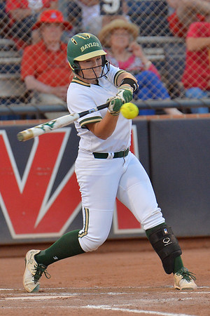 TUCSON, AZ - MAY 27:  Shelby McGlaun #24 of the Baylor Bears swings at a pitch during game two of the NCAA Div. I Super Regional against the Arizona Wildcats on May 26, 2017 at Hillenbrand Stadium in Tucson, Arizona.  Baylor won 6-4.  (Photo by Sam Wasson)