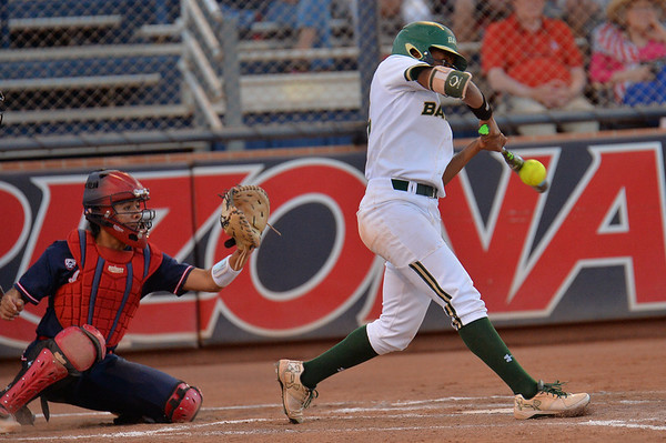 TUCSON, AZ - MAY 27:  Ari Hawkins #14 of the Baylor Bears (R) swings at a pitch during game two of the NCAA Div. I Super Regional against the Arizona Wildcats on May 26, 2017 at Hillenbrand Stadium in Tucson, Arizona.  Baylor won 6-4.  (Photo by Sam Wasson)