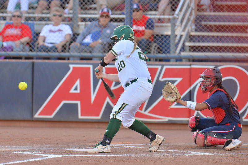 TUCSON, AZ - MAY 27:  Sydney Christensen #20 of the Baylor Bears swings at a pitch during game two of the NCAA Div. I Super Regional against the Arizona Wildcats on May 26, 2017 at Hillenbrand Stadium in Tucson, Arizona.  Baylor won 6-4.  (Photo by Sam Wasson)