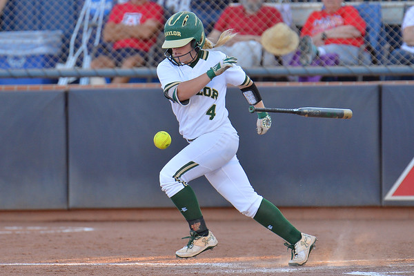 TUCSON, AZ - MAY 27:  Kyla Walker #2 of the Baylor Bears bunts the ball during game two of the NCAA Div. I Super Regional against the Arizona Wildcats on May 26, 2017 at Hillenbrand Stadium in Tucson, Arizona.  Baylor won 6-4.  (Photo by Sam Wasson)