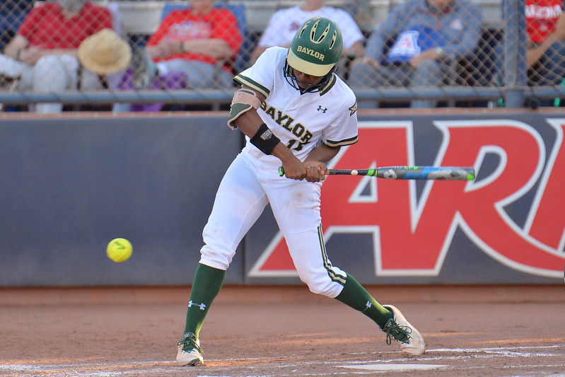 TUCSON, AZ - MAY 27:  Jessica Scroggins #15 of the Baylor Bears swings at a pitch during game two of the NCAA Div. I Super Regional against the Arizona Wildcats on May 26, 2017 at Hillenbrand Stadium in Tucson, Arizona.  Baylor won 6-4.  (Photo by Sam Wasson)