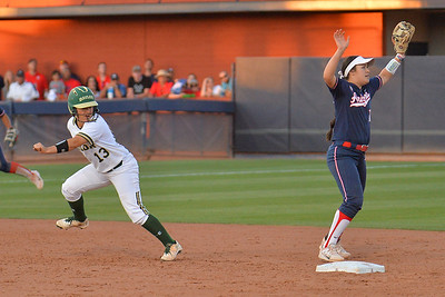 TUCSON, AZ - MAY 27:  Riley Browder #13 of the Baylor Bears (L) tags up during game two of the NCAA Div. I Super Regional against the Arizona Wildcats on May 26, 2017 at Hillenbrand Stadium in Tucson, Arizona.  Baylor won 6-4.  (Photo by Sam Wasson)