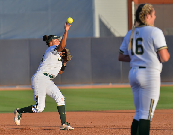 TUCSON, AZ - MAY 27:  Ari Hawkins #14 of the Baylor Bears (L) throws to first base during game two of the NCAA Div. I Super Regional against the Arizona Wildcats on May 26, 2017 at Hillenbrand Stadium in Tucson, Arizona.  Baylor won 6-4.  (Photo by Sam Wasson)
