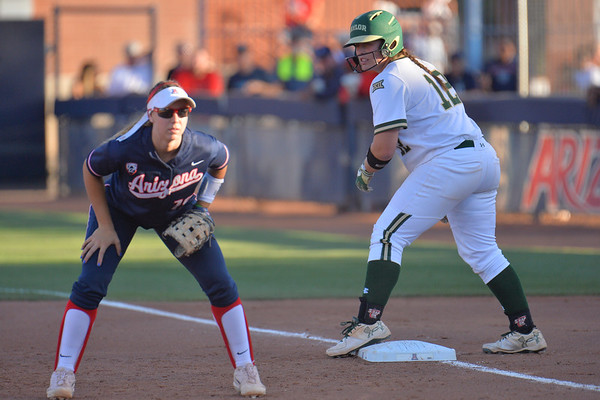 TUCSON, AZ - MAY 27:  Shelby Friudenberg #12 of the Baylor Bears (R) looks on during game two of the NCAA Div. I Super Regional against the Arizona Wildcats on May 26, 2017 at Hillenbrand Stadium in Tucson, Arizona.  Baylor won 6-4.  (Photo by Sam Wasson)