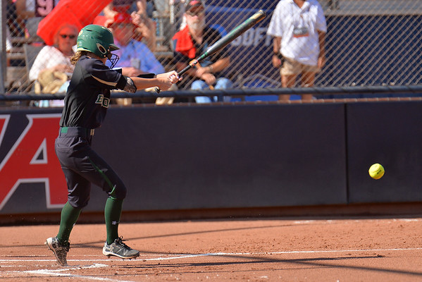 TUCSON, AZ - MAY 28:  Kyla Walker #2 of the Baylor Bears hits a pitch during game three of the NCAA Div. I Super Regional against the Arizona Wildcats on May 26, 2017 at Hillenbrand Stadium in Tucson, Arizona.  (Photo by Sam Wasson)