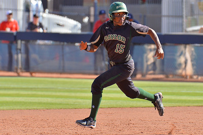 TUCSON, AZ - MAY 28:  Jessica Scroggins #15 of the Baylor Bears runs toward second base during game three of the NCAA Div. I Super Regional against the Arizona Wildcats on May 26, 2017 at Hillenbrand Stadium in Tucson, Arizona.  (Photo by Sam Wasson)