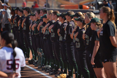 TUCSON, AZ - MAY 28:  The Baylor Bears line up for the American national anthem before game three of the NCAA Div. I Super Regional against the Arizona Wildcats on May 26, 2017 at Hillenbrand Stadium in Tucson, Arizona.  (Photo by Sam Wasson)