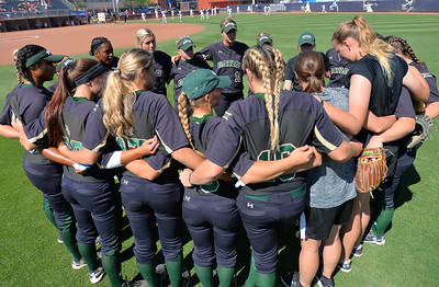 TUCSON, AZ - MAY 28:  The Baylor Bears huddle before  game three of the NCAA Div. I Super Regional against the Arizona Wildcats on May 26, 2017 at Hillenbrand Stadium in Tucson, Arizona.  (Photo by Sam Wasson)