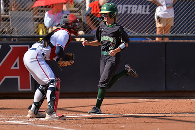 TUCSON, AZ - MAY 28:  Kyla Walker (R) #2 of the Baylor Bears scores a run in the first inning during game three of the NCAA Div. I Super Regional against the Arizona Wildcats on May 26, 2017 at Hillenbrand Stadium in Tucson, Arizona.  (Photo by Sam Wasson)