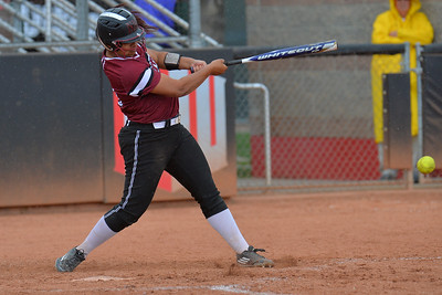 March 6, 2016: NM state right fielder Fiana Finau takes a swing in a game between New Mexico State and No. 7 Oregon at the 2016 Alexis Park Resort Classic at Eller Media Stadium in Las Vegas, Nevada. The Aggies lost to the Ducks 8-0 via run rule.