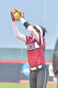March 6, 2016: NM State second baseman Rachel Rodriguez secures an out in a game between New Mexico State and No. 7 Oregon at the 2016 Alexis Park Resort Classic at Eller Media Stadium in Las Vegas, Nevada. The Aggies lost to the Ducks 8-0 via run rule.