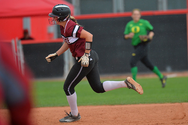 March 6, 2016: NM State first baseman rounds second base and heads for third base in a game between New Mexico State and No. 7 Oregon at the 2016 Alexis Park Resort Classic at Eller Media Stadium in Las Vegas, Nevada. The Aggies lost to the Ducks 8-0 via run rule.