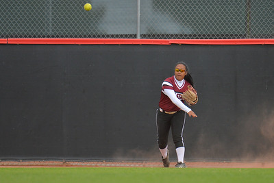 March 6, 2016: NM State left fielder Fahren Glacken throws a ball in from the outfield in a game between New Mexico State and No. 7 Oregon at the 2016 Alexis Park Resort Classic at Eller Media Stadium in Las Vegas, Nevada. The Aggies lost to the Ducks 8-0 via run rule.