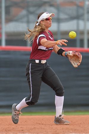 March 6, 2016: NM State third baseman Emma Adams fires a throw to first base in a game between New Mexico State and No. 7 Oregon at the 2016 Alexis Park Resort Classic at Eller Media Stadium in Las Vegas, Nevada. The Aggies lost to the Ducks 8-0 via run rule.