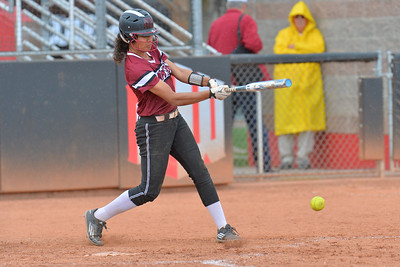 March 6, 2016: NM State center fielder Victoria Castro hits a ground ball in a game between New Mexico State and No. 7 Oregon at the 2016 Alexis Park Resort Classic at Eller Media Stadium in Las Vegas, Nevada. The Aggies lost to the Ducks 8-0 via run rule.