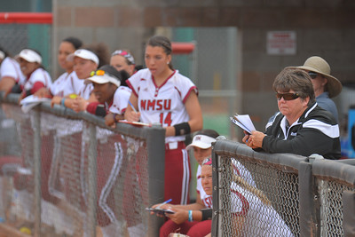 March 5, 2016: NM State head coach Kathy Rodolph and the Aggies watch the action in a game between New Mexico State and Saint Mary's College at the 2016 Alexis Park Resort Classic at Eller Media Stadium in Las Vegas, Nevada. The Aggies defeated the Gaels via run rule 12-4.