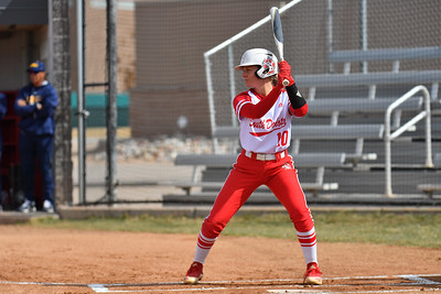 ALBUQUERQUE, NEW MEXICO - FEBRUARY 28, 2020:  Camille Fowler #10 of the South Dakota Coyotes waits for a pitch against the Northern Colorado Bears during their game in the Lobo Classic at the Lobo Softball Field on February 28, 2020 in Albuquerque, New Mexico.  (Photo by Sam Wasson for South Dakota Athletics)