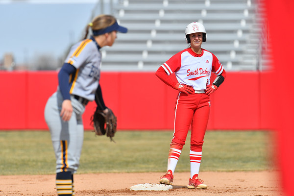 ALBUQUERQUE, NEW MEXICO - FEBRUARY 28, 2020:  Camille Fowler #10 of the South Dakota Coyotes stands on second base during her team's game against the Northern Colorado Bears in the Lobo Classic at the Lobo Softball Field on February 28, 2020 in Albuquerque, New Mexico.  (Photo by Sam Wasson for South Dakota Athletics)