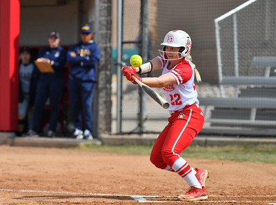 ALBUQUERQUE, NEW MEXICO - FEBRUARY 28, 2020:  Courtney Wilson #22 of the South Dakota Coyotes hits a pitch against the Northern Colorado Bears during their game in the Lobo Classic at the Lobo Softball Field on February 28, 2020 in Albuquerque, New Mexico.  (Photo by Sam Wasson for South Dakota Athletics)